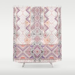 Aztec Lines Floral Shower Curtain