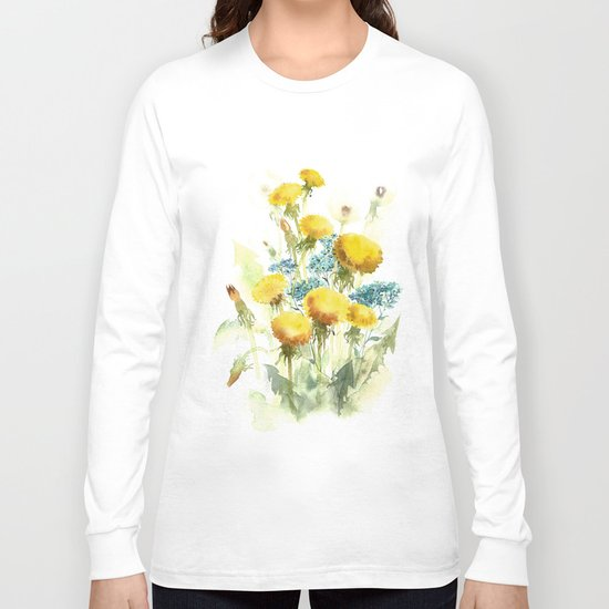 Watercolor flowers of blowball and forget-me-not Long Sleeve T-shirt