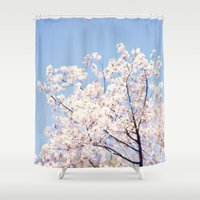 cherry blossoms Shower Curtains featuring Cherry Blossoms by myhideaway