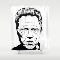 christopher walken Shower Curtains featuring Christopher Walken by Sheena White for Winsome Gallery