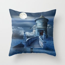 The Mysterious Castle In The Sea Throw Pillow