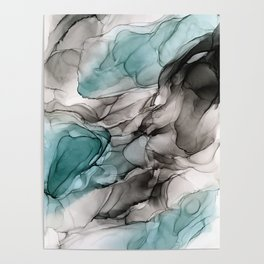 Smoky Grays and Green Abstract Flow Poster