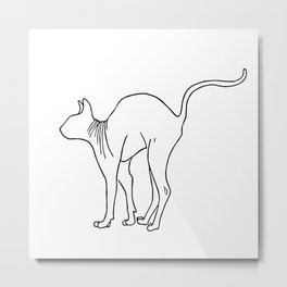 Sphynx Cat Arching Its Back - Naked Cat -  Simple Line - Minimal Metal Print