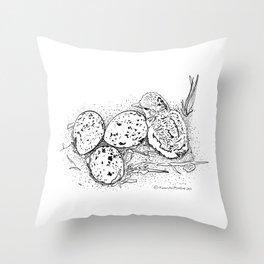 American Oystercatcher nest Throw Pillow