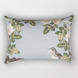 Birds and the Bees Gray Rectangular Pillow