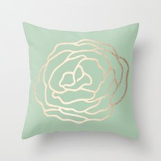 Rose White Gold Sands on Pastel Cactus Green Throw Pillow