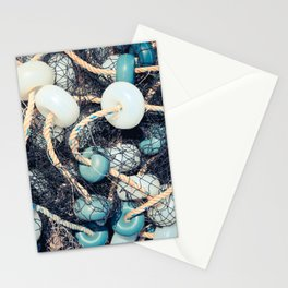 Mixed up fishnet with rope and lot of buoys Stationery Cards
