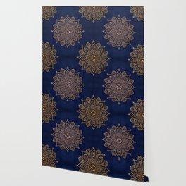 N253 - Indigo Royal Blue Heritage Oriental Moroccan Golden Floral Artwork Wallpaper
