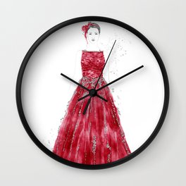Fashion illustration red long gown Wall Clock