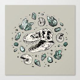 Geo-rex Vortex | Aquamarine | Dinosaur Skull Fossil Art Canvas Print