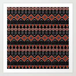 Mudcloth Style 2 in Black and Red Art Print