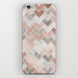 Rose Gold and Marble Geometric Tiles iPhone Skin