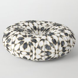 Black and white marble Moroccan mosaic Floor Pillow