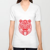 beaver V-neck T-shirts featuring Tiki Beaver  by natewilsongraphics