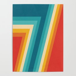 Colorful Retro Stripes  - 70s, 80s Abstract Design Poster