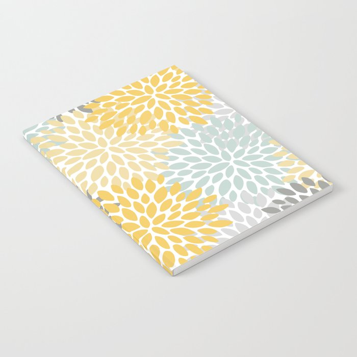 Floral Pattern, Yellow, Pale, Aqua, Blue and Gray Notebook