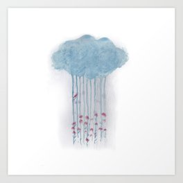 Rain in the woods Art Print