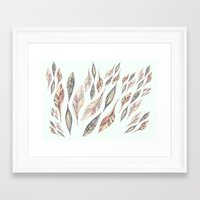feathers Framed Art Prints featuring Feathers by Vasare Nar
