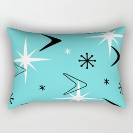 Vintage 1950s Boomerangs and Stars Turquoise Rectangular Pillow