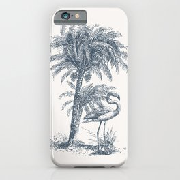 Toile De Jouy Flamingo Palm Tree iPhone Case