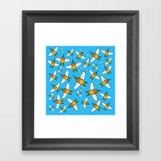 Bees pattern in blue Framed Art Print