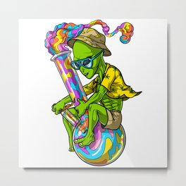 Alien Stoner Riding Bong Metal Print