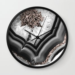 Gray Black White Agate with Rose Gold Glitter #2 #gem #decor #art #society6 Wall Clock