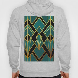 Art Deco Keep On Walking In Turquoise Hoody
