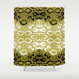 Snake skin scales texture. Seamless pattern black yellow gold white background. simple ornament Shower Curtain