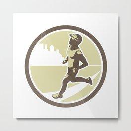 Triathlete Running Side Circle Retro Metal Print