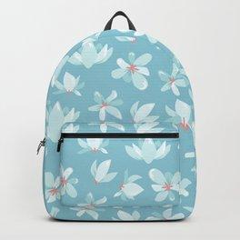 Elegant pastel blue white coral modern floral illustration Backpack