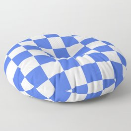 Checkered - White and Royal Blue Floor Pillow