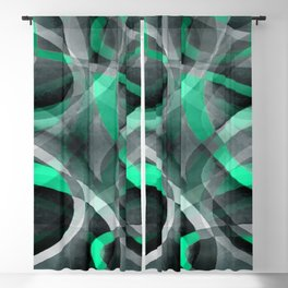 Eighties Snazzy Aqua and Grey Curved Line Pattern Blackout Curtain