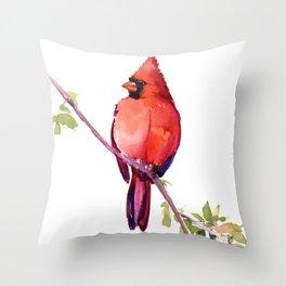 Cardinal Bird Vintage Style Red Cardinal design Throw Pillow