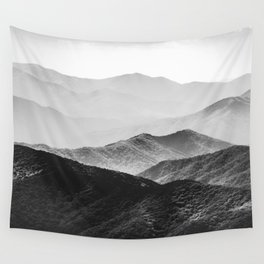 Glimpse - Black and White Mountains Landscape Nature Photography Wall Tapestry