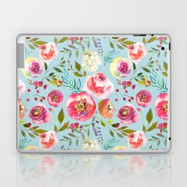 pink and blue watercolor peonies Laptop & iPad Skin