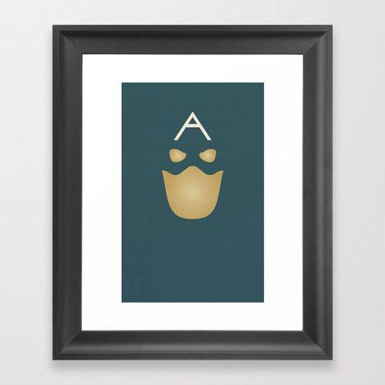 Minimalist Captain America Framed Art Print
