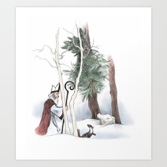St Nicholas and the Pine Marten Art Print
