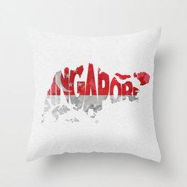 Singapore Typographic Flag / Map Art Throw Pillow