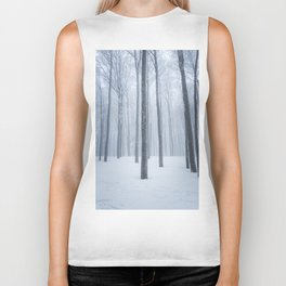 Foggy frozen winter forest Biker Tank