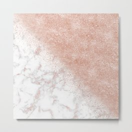 Elegant faux rose gold confetti white marble image Metal Print