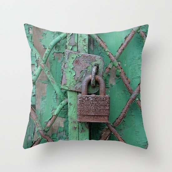 Rusty Lock Throw Pillow