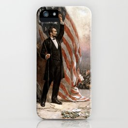 President Lincoln Giving A Speech iPhone Case