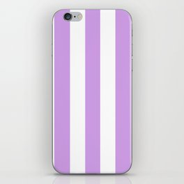 Bright ube violet - solid color - white vertical lines pattern iPhone Skin