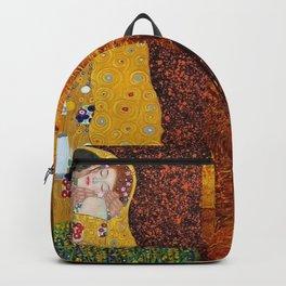 Gustav Klimt: The Kiss & Freya's Tears golden-red flower anemone college portrait painting Backpack