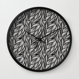 black and white doodle waves Wall Clock