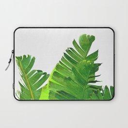 Palm banana leaves tropical watercolor illustration Laptop Sleeve