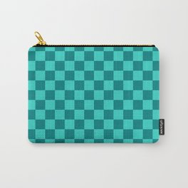 Teal and Turquoise Checkerboard Carry-All Pouch