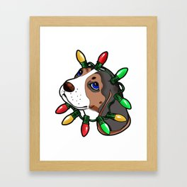 Beagle Christmas Lights Present Gift Framed Art Print