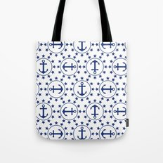 Navy Blue Anchors and Stars Nautical Pattern Tote Bag